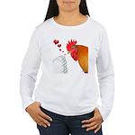 Valentine Rooster in Love Women's Long Sleeve T-Sh