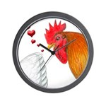 Valentine Rooster in Love Wall Clock