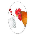 Valentine Rooster in Love Oval Sticker (50 pk)