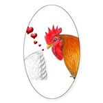 Valentine Rooster in Love Oval Sticker (10 pk)