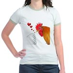 Valentine Rooster in Love Jr. Ringer T-Shirt