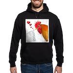 Valentine Rooster in Love Hoodie (dark)