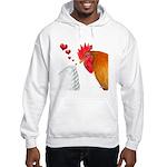 Valentine Rooster in Love Hooded Sweatshirt