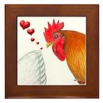 Valentine Rooster in Love Framed Tile