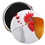 """Valentine Rooster in Love 2.25"""" Magnet (100 p"""