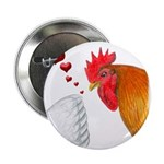 """Valentine Rooster in Love 2.25"""" Button (10 pa"""