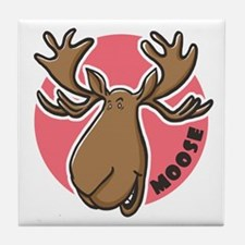 Cartoon Moose Pink Tile Coaster