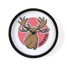 Cartoon Moose Pink Wall Clock