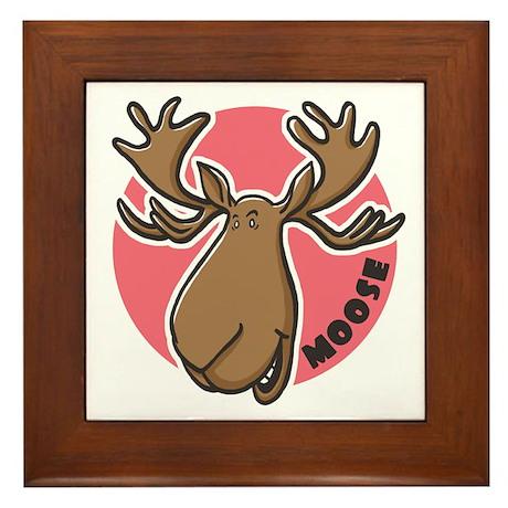 Cartoon Moose Pink Framed Tile