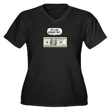 Benjamins Women's Plus Size V-Neck Dark T-Shirt