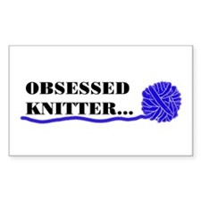 OBSESSED KNITTER Rectangle Decal