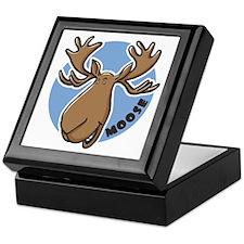 Cartoon Moose Blue Keepsake Box