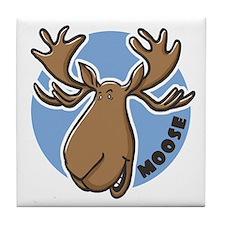 Cartoon Moose Blue Tile Coaster