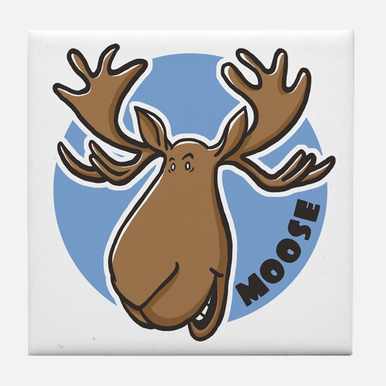 Cartoon Moose Blue Tile Coaster