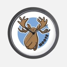 Cartoon Moose Blue Wall Clock