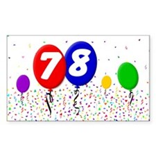 78th Birthday Rectangle Decal