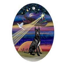 Black Great Dane Xmas Star Oval Ornament