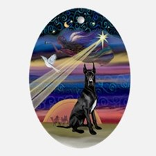 Black Great Dane Xmas Star Oval Ornament