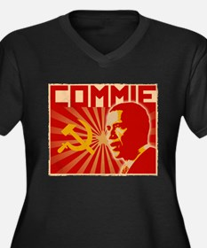 Obama Commie (aged effect) Women's Plus Size V-Nec