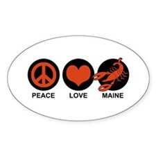 Peace Love Maine Oval Decal