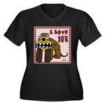 Valentine Dog Women's Plus Size V-Neck Dark T-Shir