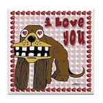 Valentine Dog Tile Coaster