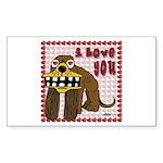 Valentine Dog Rectangle Sticker