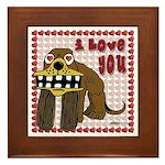 Valentine Dog Framed Tile