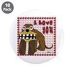 """Valentine Dog 3.5"""" Button (10 pack)"""