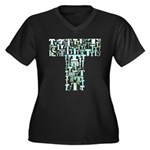 T Shirt Women's Plus Size V-Neck Dark T-Shirt