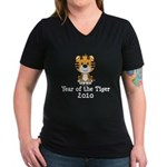 Year of the Tiger 2010 Women's V-Neck Dark T-Shirt