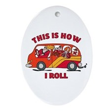 How I Roll Mom Minivan Oval Ornament