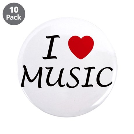 "I heart music 3.5"" Button (10 pack)"