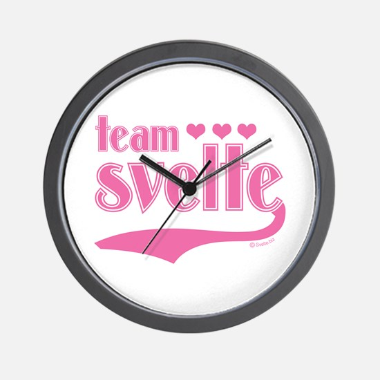 Team Svelte Pink Hearts Wall Clock