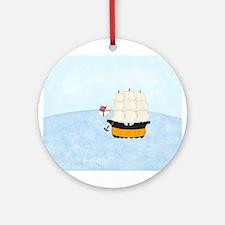 Ship at Sea Ornament (Round)