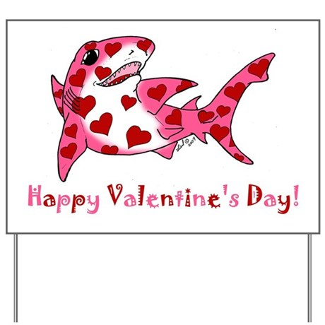 Valentine Shark Yard Sign