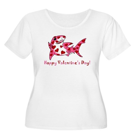 Valentine Shark Women's Plus Size Scoop Neck T-Shi