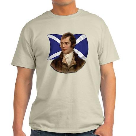 Robert Burns with Scottish Flag Light T-Shirt