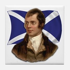 Robert Burns with Scottish Flag Tile Coaster