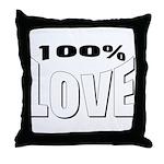 100% Love Throw Pillow