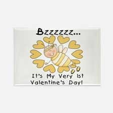 Bee 1st Valentine's Day Rectangle Magnet