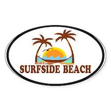 Surfside Beach SC - Sun and Palm Trees Design Stic
