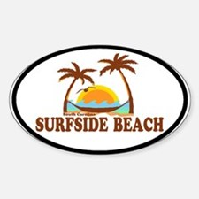 Surfside Beach SC - Sun and Palm Trees Design Stic