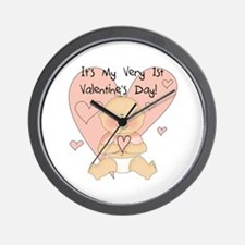 Girl 1st Valentine's Day Wall Clock