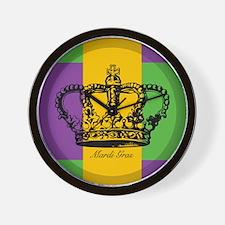 Mardi Gras Flag Crown Wall Clock