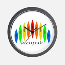 Rainbow of Kayaks Wall Clock