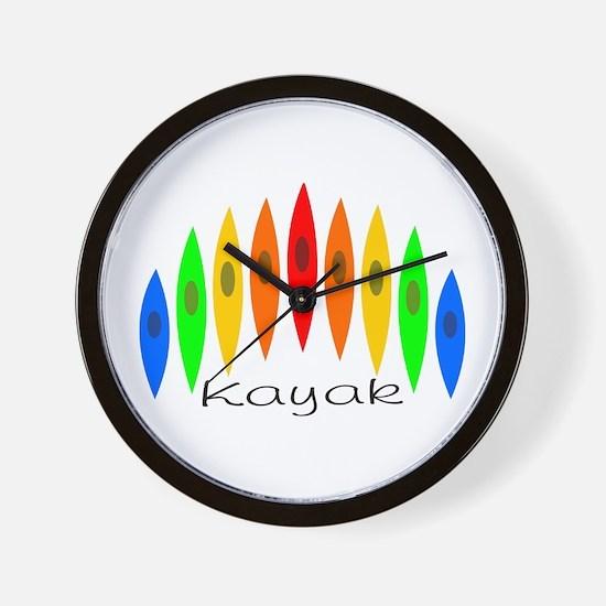 Rainbow of Kayaks Wall Clock