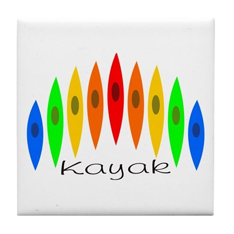 Rainbow of Kayaks Tile Coaster