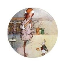 ALICE & THE WHITE RABBIT Ornament (Round)