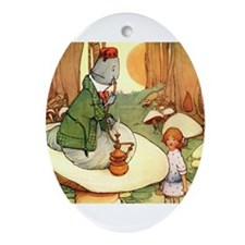 ALICE & THE CATERPILLAR Oval Ornament